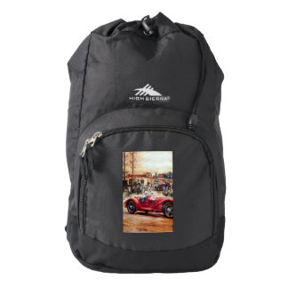 Retro racing car painting high sierra backpack