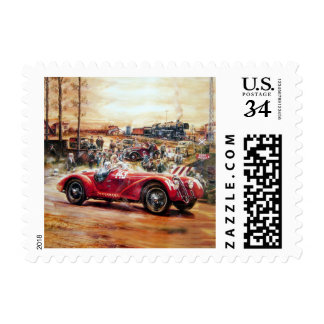 Retro racing car painting postage