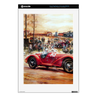 Retro racing car painting PS3 console skin