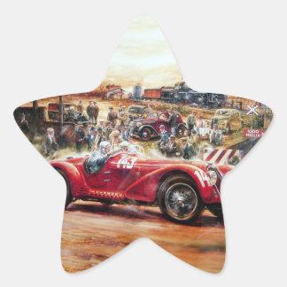 Retro racing car painting star sticker
