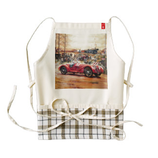 Retro racing car painting zazzle HEART apron