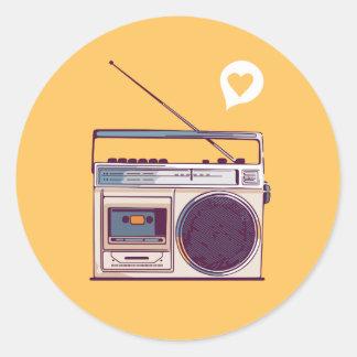 Retro Radio Boombox Classic Round Sticker