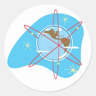 Retro Radio Earth Classic Round Sticker