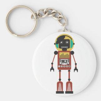 Retro Radio Robot Basic Round Button Keychain