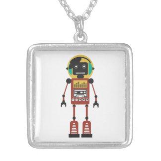 Retro Radio Robot Silver Plated Necklace