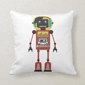 Retro Radio Robot Throw Pillow