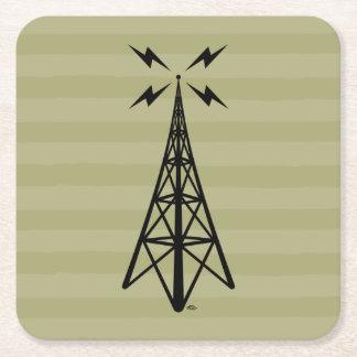 Retro Radio Tower Square Paper Coaster