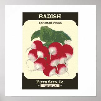 Retro Radish Vegetable Seed Packet Poster Print