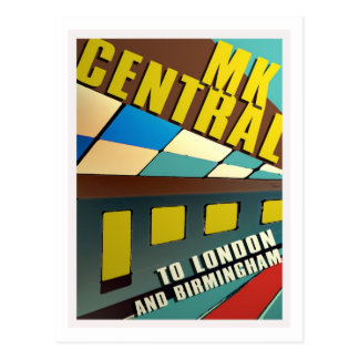 Retro railway postcard MK Central