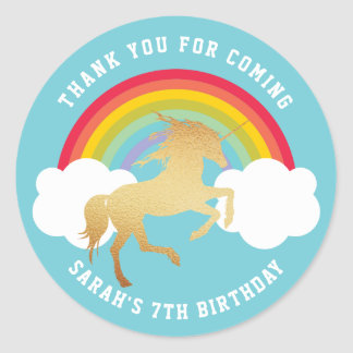 Retro Rainbow and Clouds Gold Unicorn Thank You Classic Round Sticker
