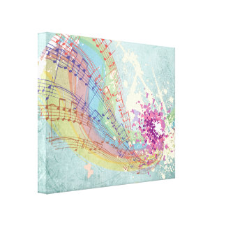 Retro Rainbow and Music Notes on a Shabby Texture Canvas Prints