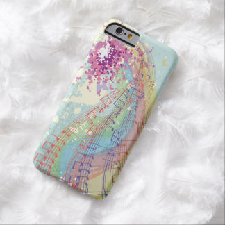 Retro Rainbow and Music Notes on a Shabby Texture Barely There iPhone 6 Case