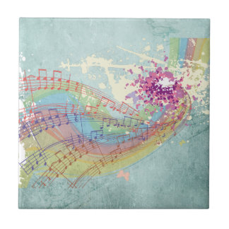 Retro Rainbow and Music Notes on a Shabby Texture Ceramic Tile