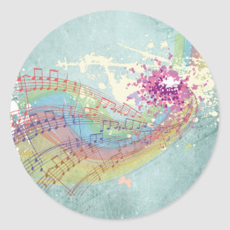 Retro Rainbow and Music Notes on a Shabby Texture Classic Round Sticker