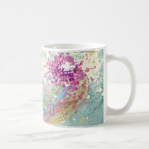 Retro Rainbow and Music Notes on a Shabby Texture Coffee Mug
