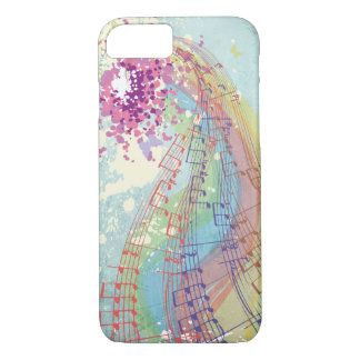 Retro Rainbow and Music Notes on a Shabby Texture iPhone 7 Case