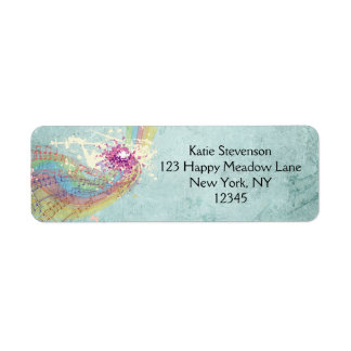 Retro Rainbow and Music Notes on a Shabby Texture Label