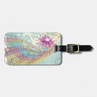 Retro Rainbow and Music Notes on a Shabby Texture Tag For Bags