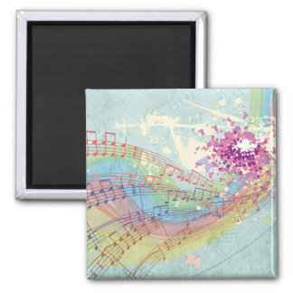 Retro Rainbow and Music Notes on a Shabby Texture Refrigerator Magnet