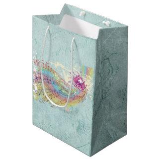Retro Rainbow and Music Notes on a Shabby Texture Medium Gift Bag