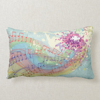 Retro Rainbow and Music Notes on a Shabby Texture Pillow