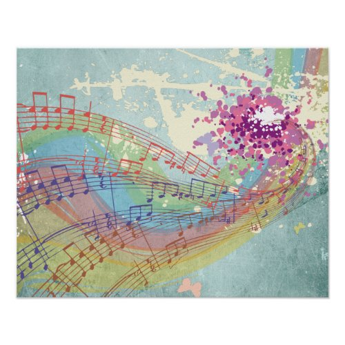 Retro Rainbow and Music Notes on a Shabby Texture