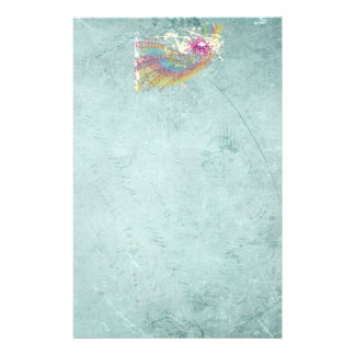 Retro Rainbow and Music Notes on a Shabby Texture Stationery