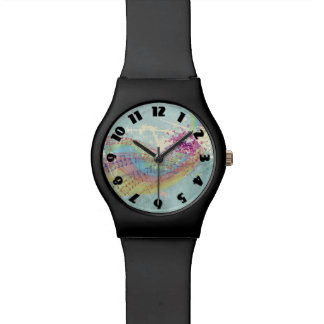 Retro Rainbow and Music Notes on a Shabby Texture Wrist Watches