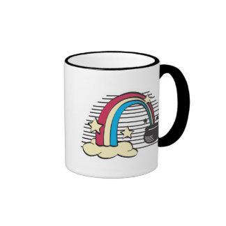 retro rainbow and pot o gold, retro rainbow and... ringer mug