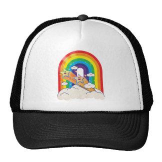 Retro rainbow and stars t-shirt mesh hats