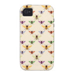 Retro rainbow bees bumblebees nature pattern iPhone 4 case