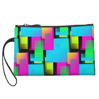 Retro Rainbow Block Pattern Wristlet Wallet