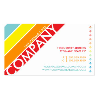 retro rainbow bullseye punchcard business card