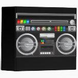 retro rainbow buttons boombox ghetto blaster binders