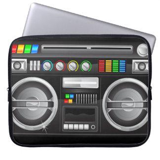 retro rainbow buttons boombox ghetto blaster computer sleeve