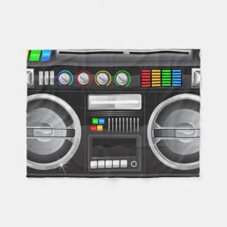 retro rainbow buttons boombox ghetto blaster fleece blanket