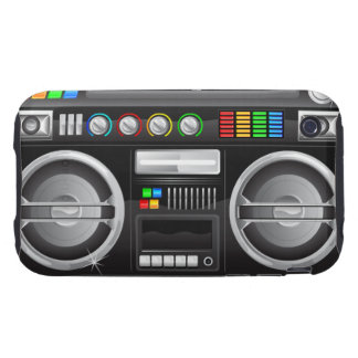 retro rainbow buttons boombox ghetto blaster iPhone 3 tough cover