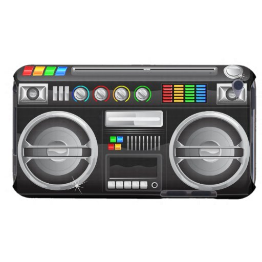 retro rainbow buttons boombox ghetto blaster iPod touch case
