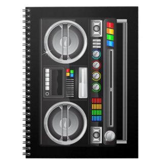retro rainbow buttons boombox ghetto blaster notebook