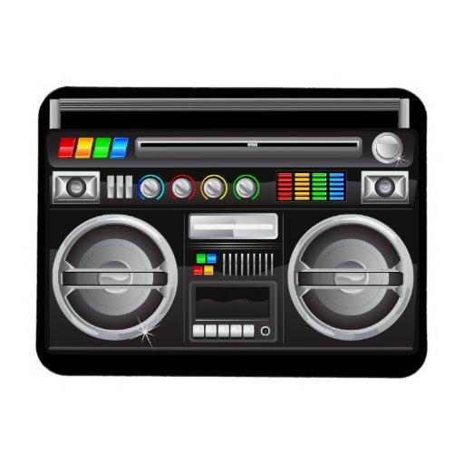 retro rainbow buttons boombox ghetto blaster rectangular magnets