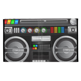 retro rainbow buttons boombox ghetto master iPad folio case