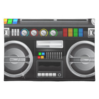 retro rainbow buttons boombox ghetto master cloth placemat