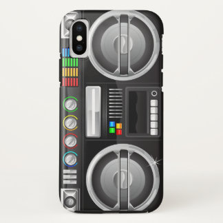 retro rainbow buttons boombox ghetto master iPhone x case