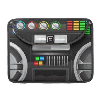retro rainbow buttons boombox ghetto master MacBook pro sleeves