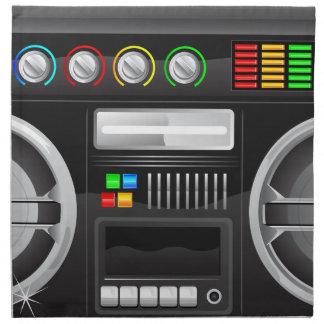 retro rainbow buttons boombox ghetto master printed napkin