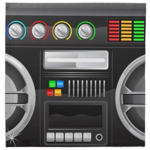 retro rainbow buttons boombox ghetto master napkins