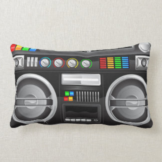 retro rainbow buttons boombox ghetto master throw pillows