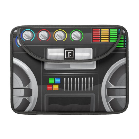 retro rainbow buttons boombox ghetto master sleeve for MacBook pro