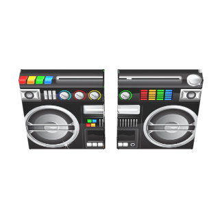 retro rainbow buttons ghetto blaster boom box canvas print