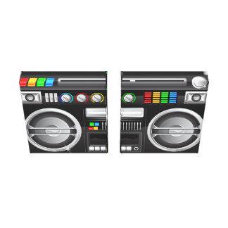 retro rainbow buttons ghetto blaster boom box canvas print